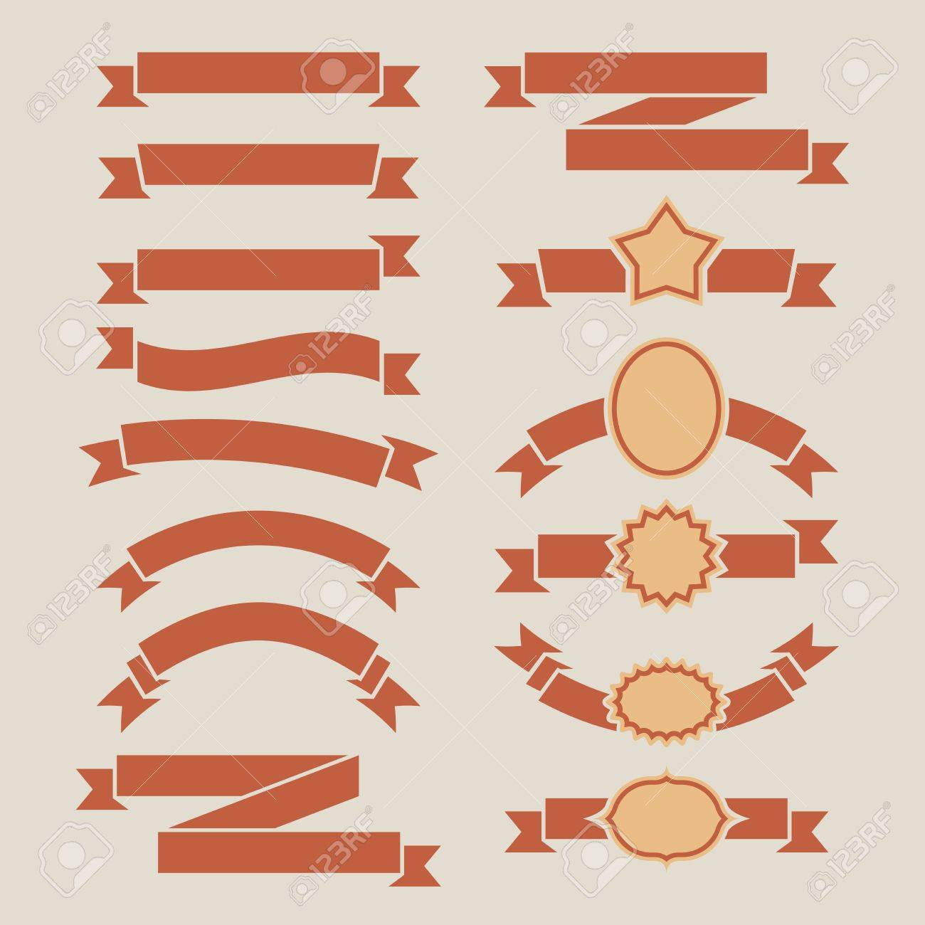 vintage red plain banners vector set isolated on beige background