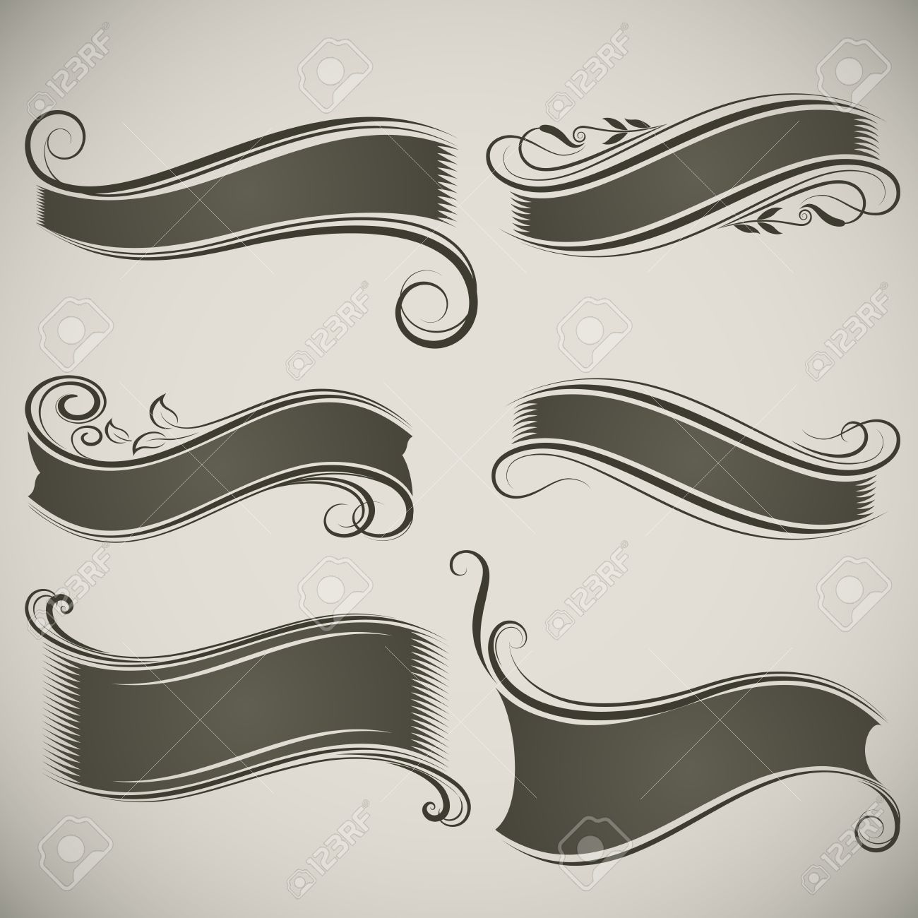 abstract vintage banner shapes vector template royalty free, Powerpoint templates