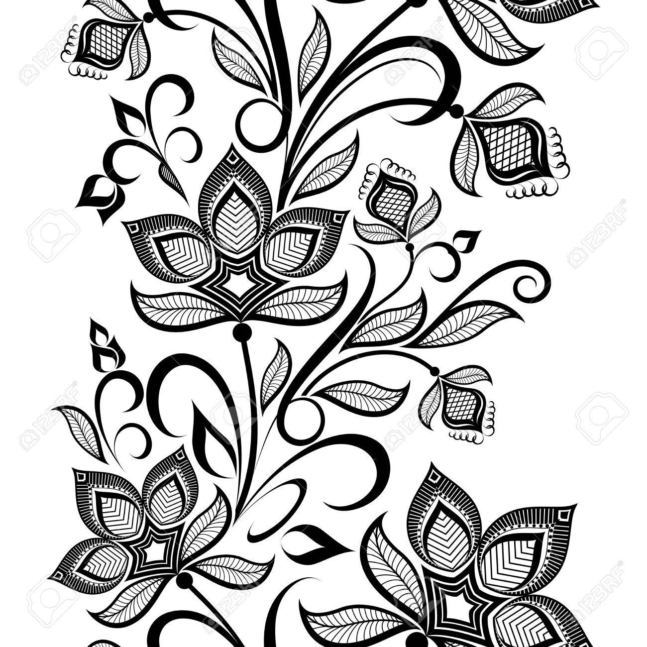Seamless Black And White Floral Vintage Vertical Vector Pattern