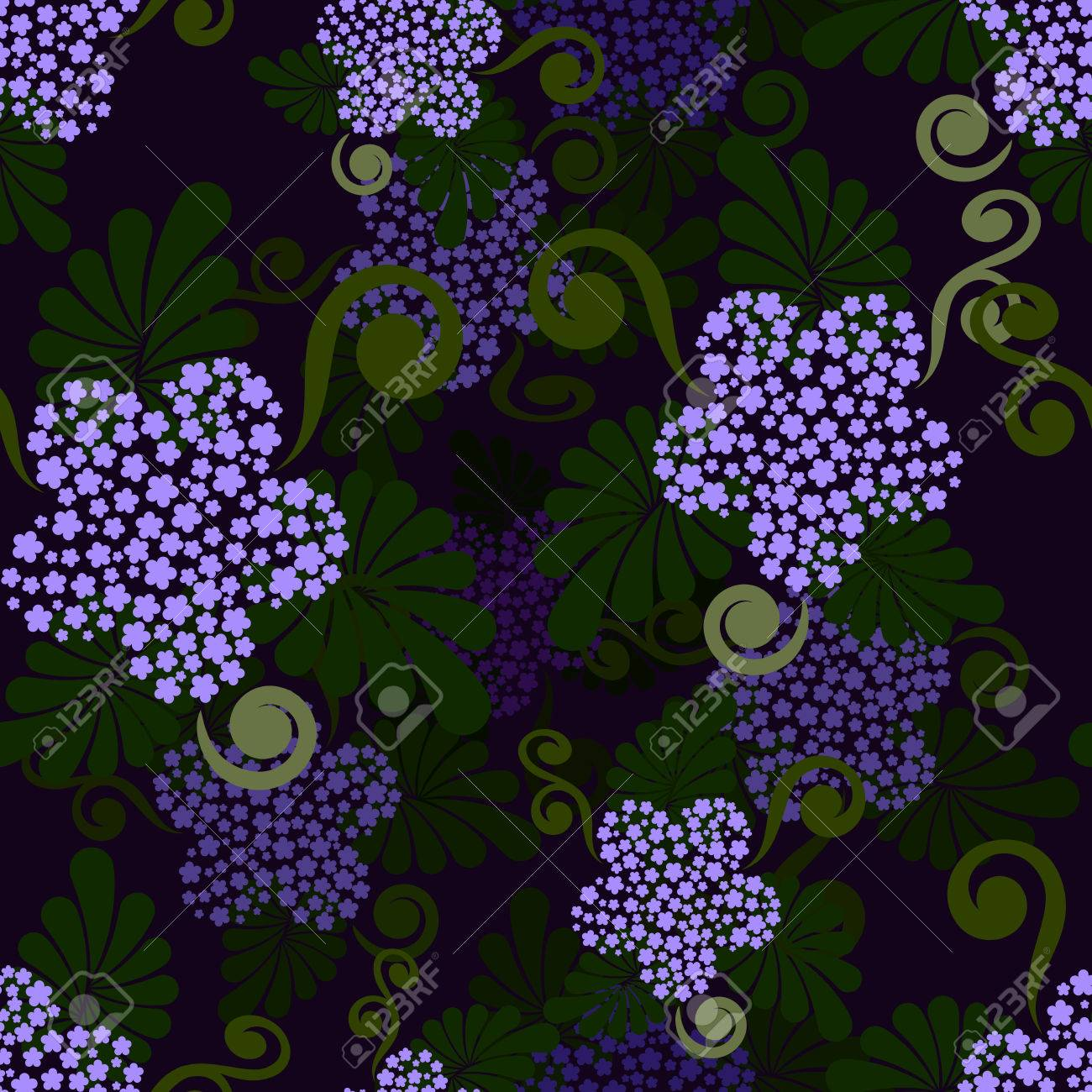Seamless Dark Green And Purple Floral Wallpaper Pattern Royalty