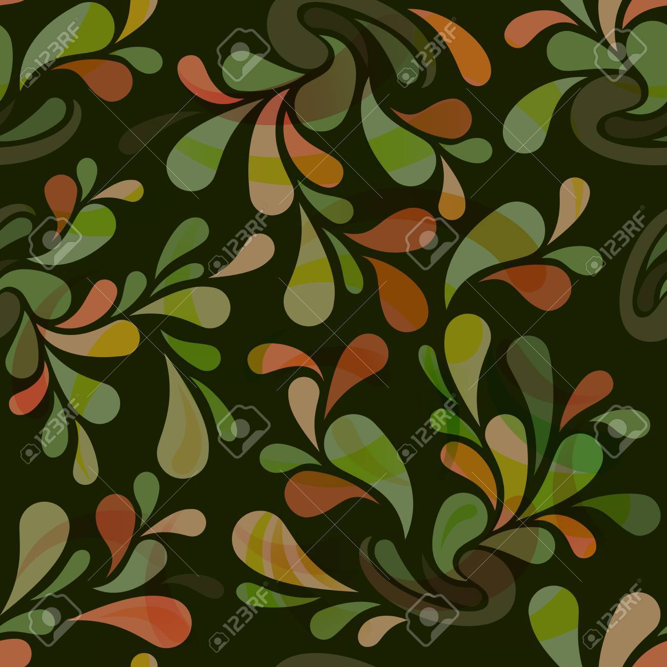 Seamless Dark Green Floral Wallpaper Pattern Royalty Free