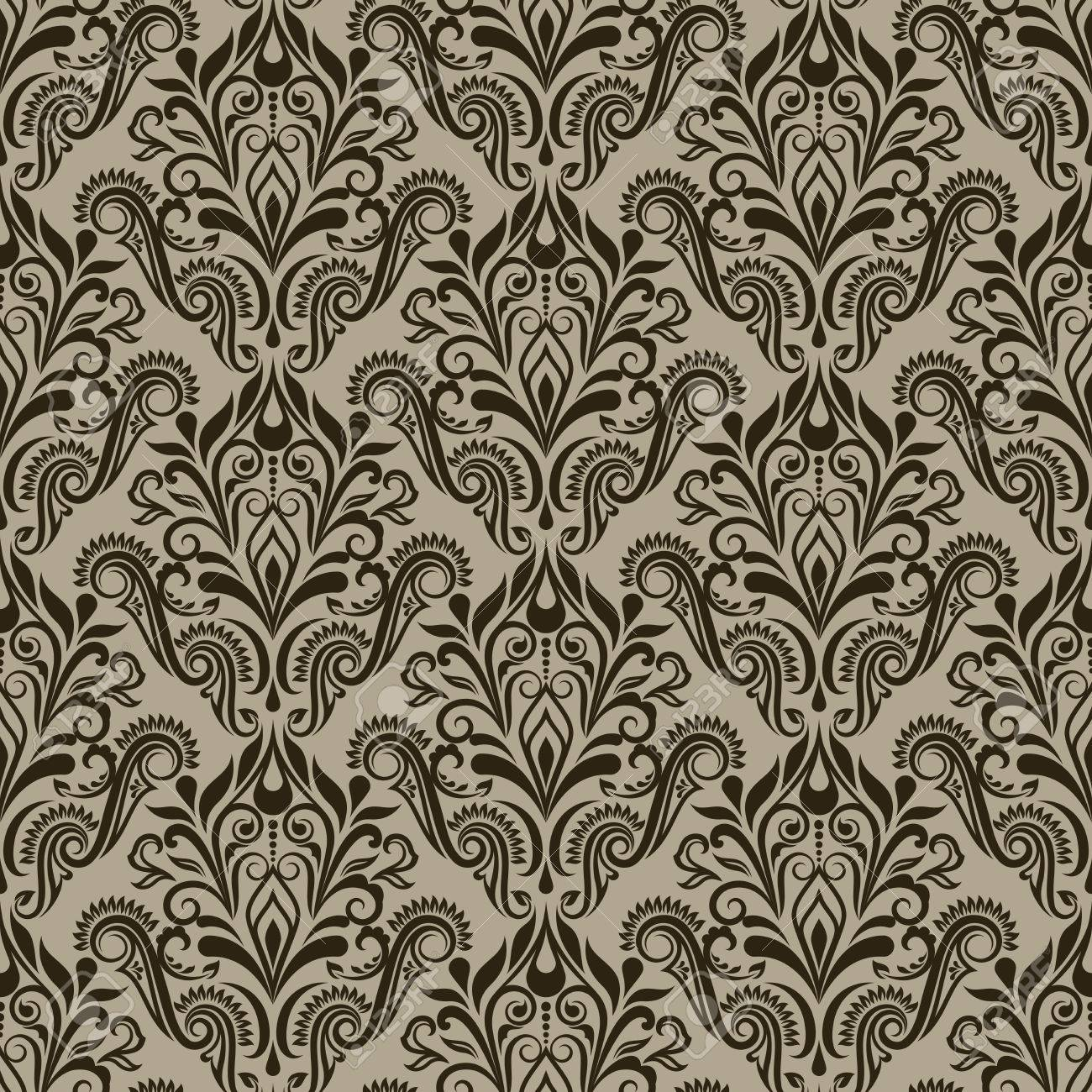 Seamless Vintage Beige And Brown Floral Wallpaper Pattern Royalty
