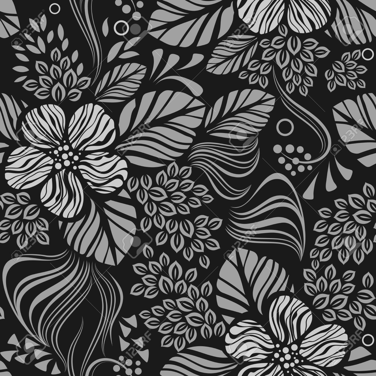 Black And White Seamless Floral Wallpaper Pattern Vector Template