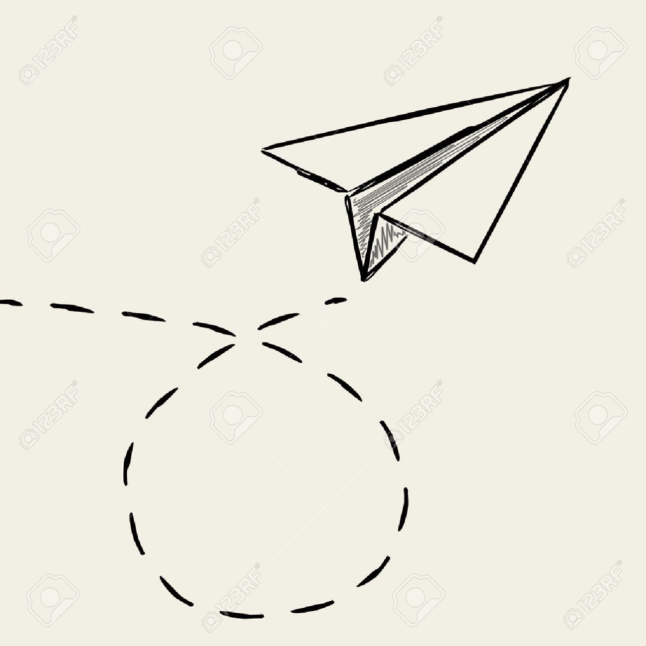 Paper Plane Drawing With Dashed Trace Line Royalty Free Cliparts