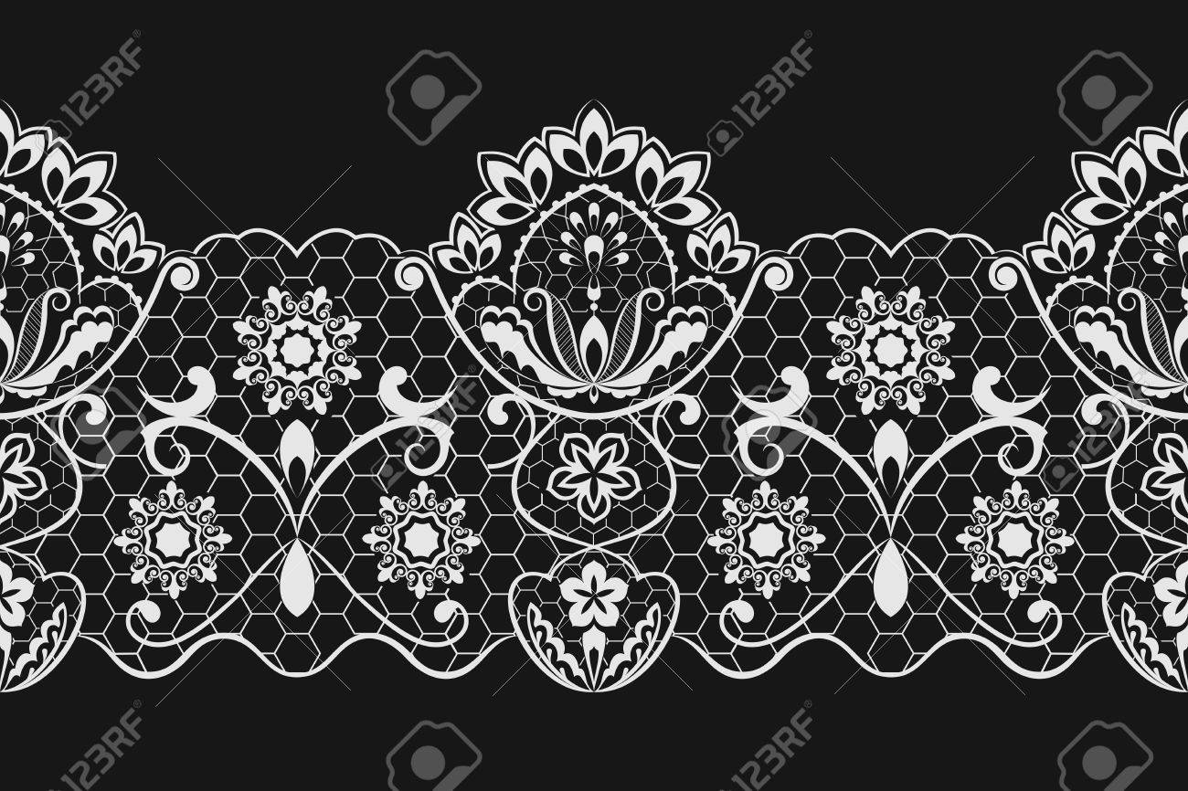 seamless black and white horizontal lace vector pattern royalty rh 123rf com lace vector free lace vector clip art free
