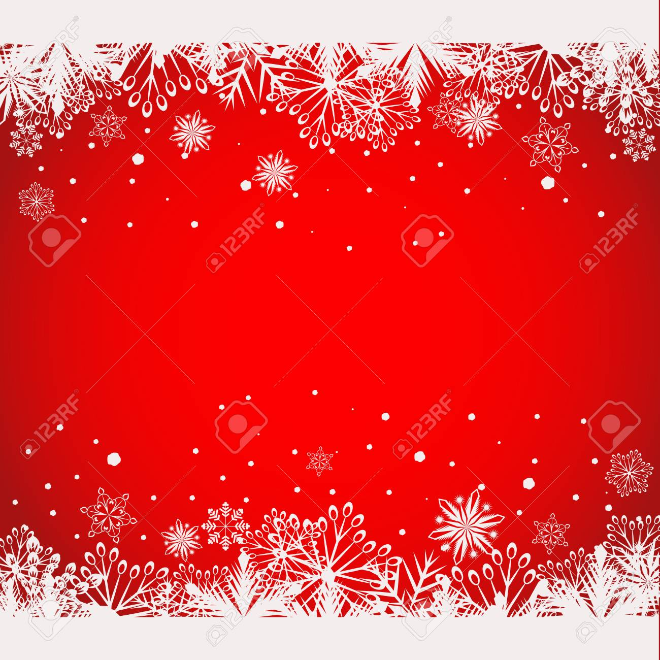 abstract red christmas background with white snowflake borders