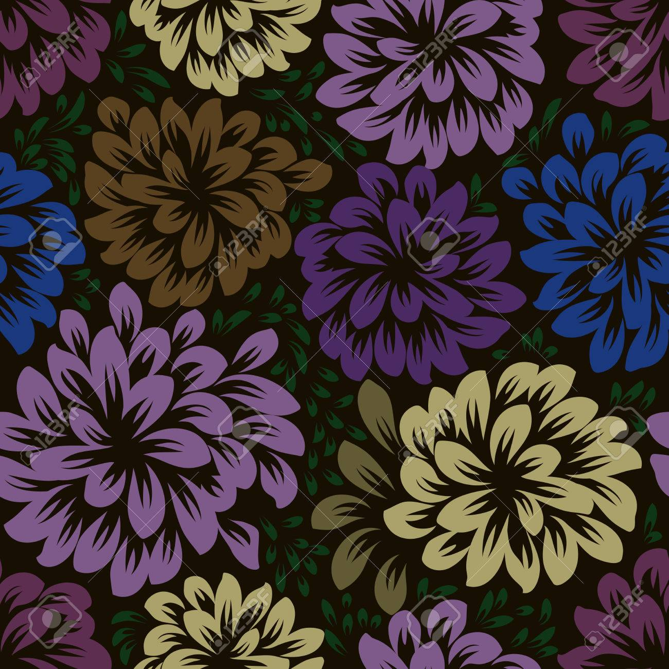 Color Dark Seamless Floral Wallpaper Pattern Vector Template