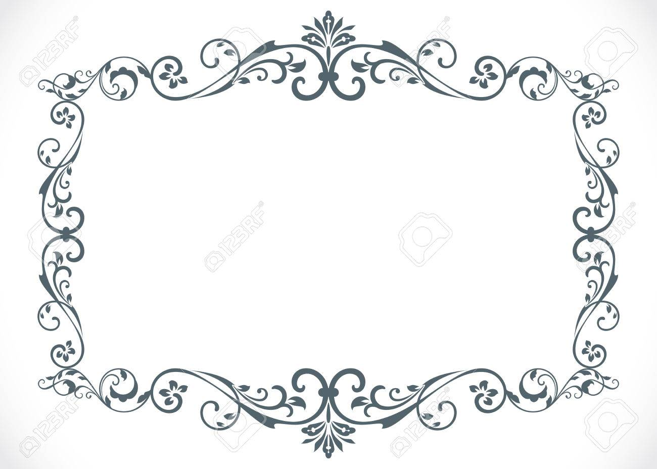 black and white floral vintage frame with copy space vector template