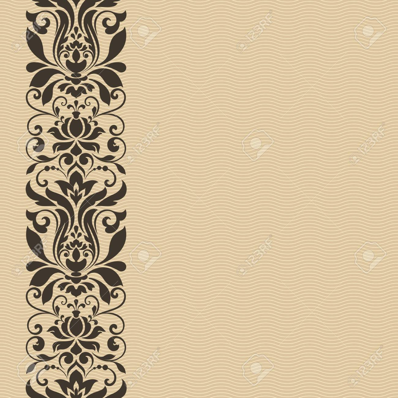 Seamless Vintage Floral Border Vector Card Template Royalty Free