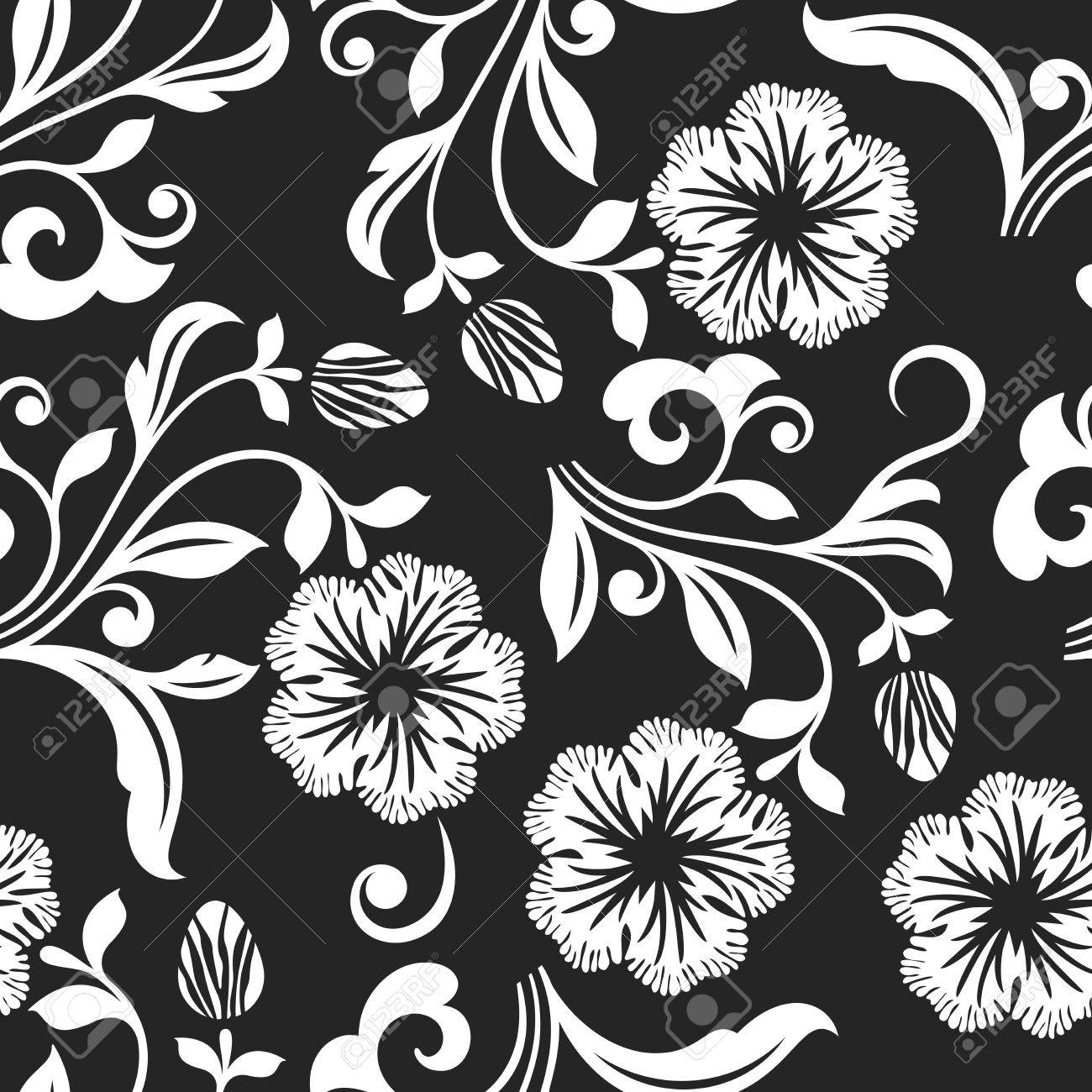 Seamless black and white flower vector background seamless textile seamless black and white flower vector background seamless textile print or wrapping paper template mightylinksfo