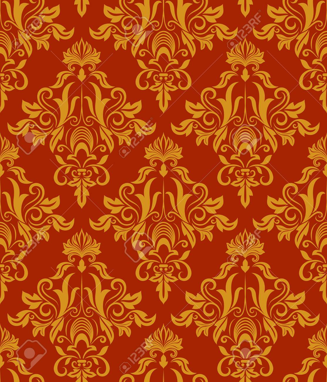 Seamless Red And Yellow Vintage Damask Wallpaper Vector Pattern Stock