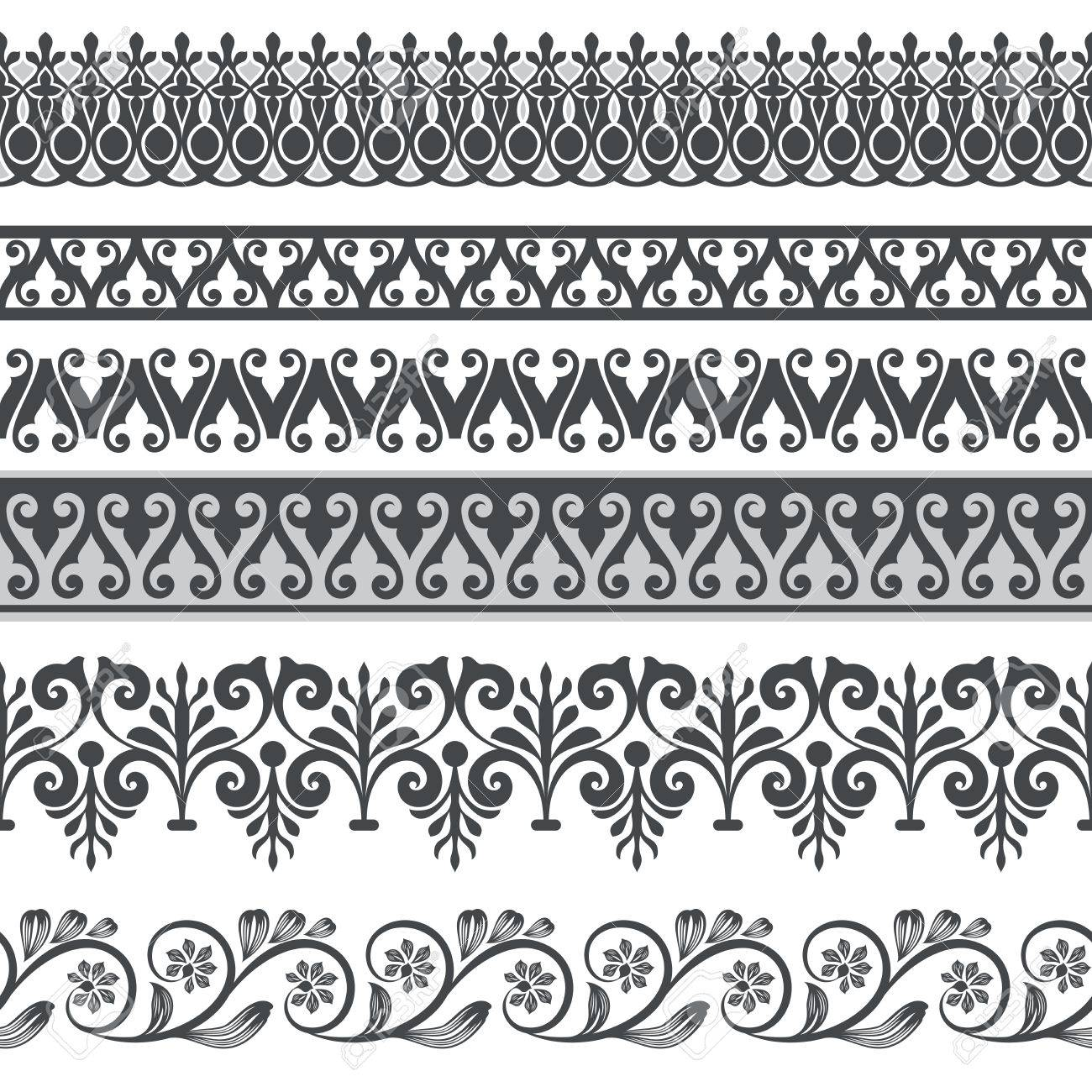 seamless floral border vector template ornament repeating divider rh 123rf com floral border vector vintage floral border vector png