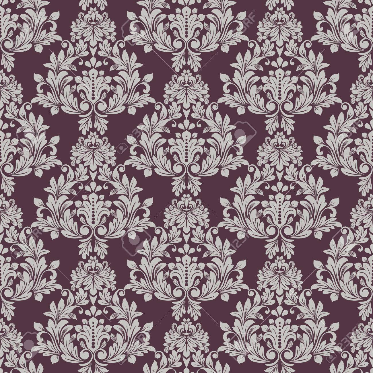 Seamless Grey And Dark Purple Floral Wallpaper Vector Background Vintage Damask Pattern Backdrop Stock