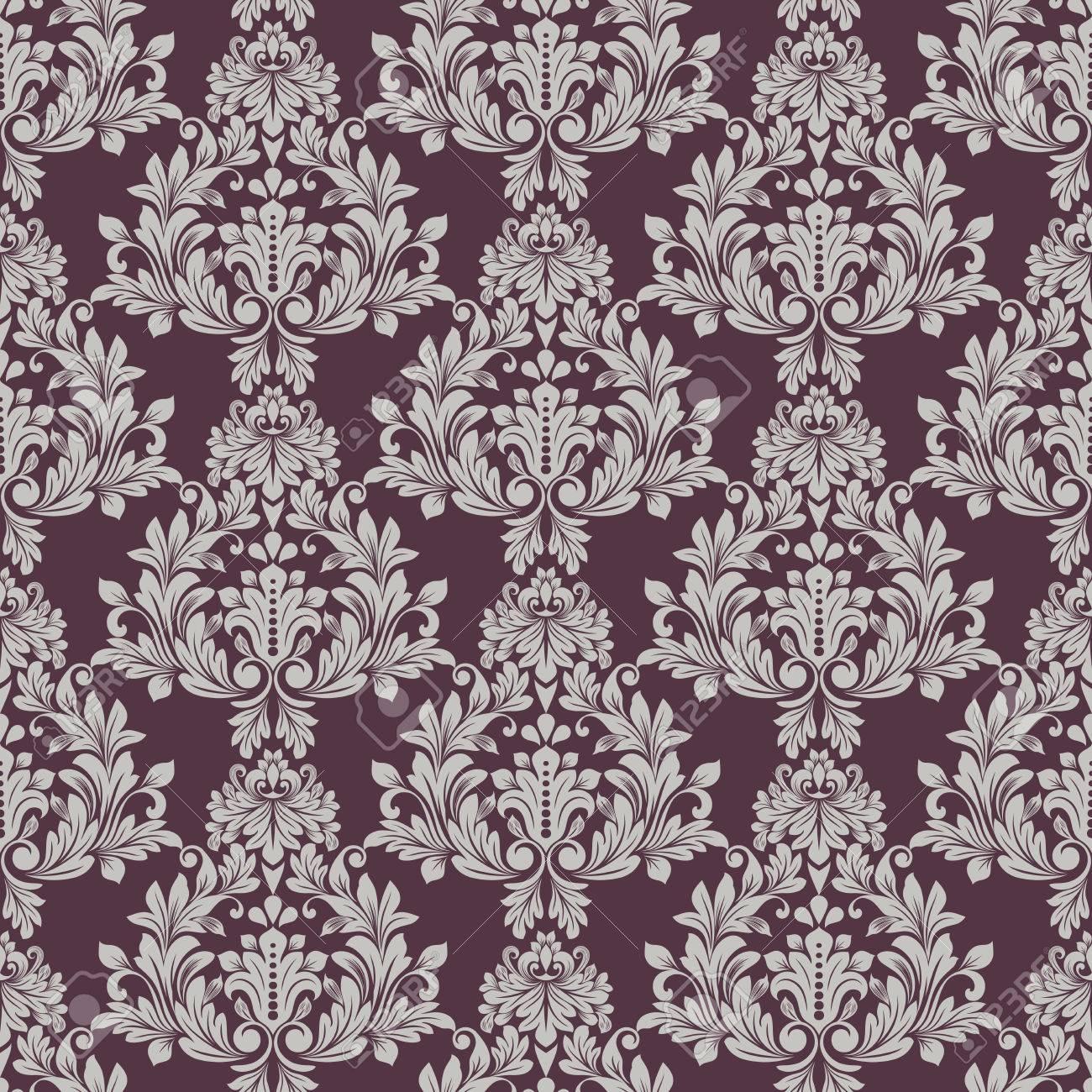 Seamless Grey And Dark Purple Floral Wallpaper Vector Background Vintage Damask Pattern Backdrop Stock