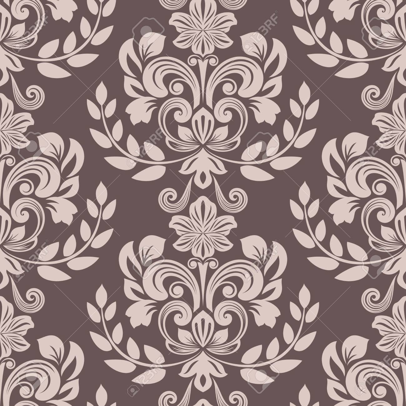 Seamless Brown And Beige Floral Wallpaper Vector Background