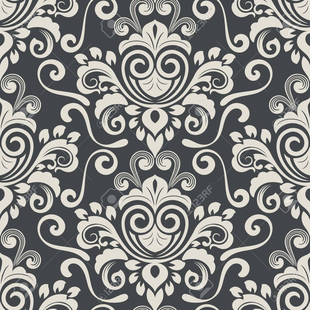 Dark black and white vintage wallpaper pattern vector illustration stock vector 78450565