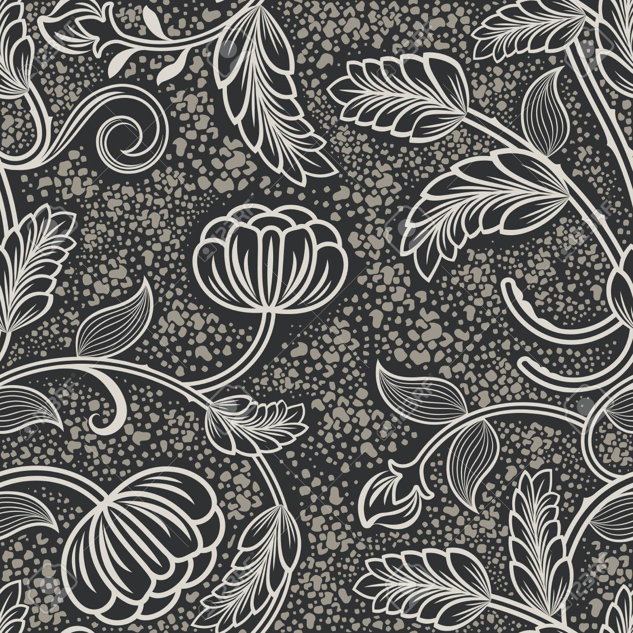 Seamless black and white vintage wallpaper pattern vector illustration stock vector 86557961