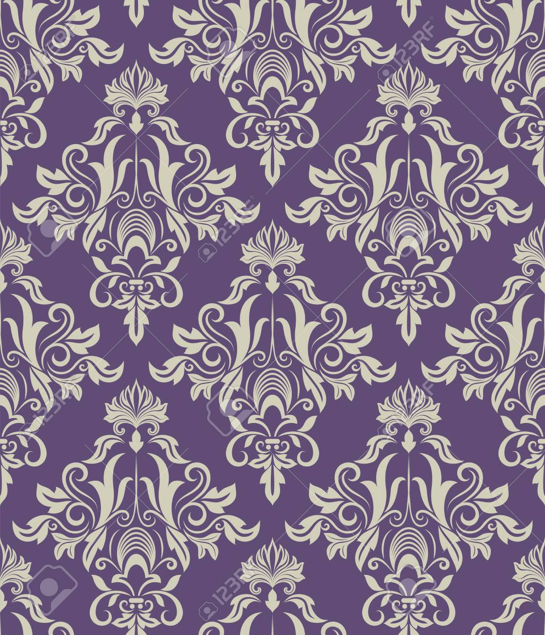 Dark Purple And Beige Vintage Wallpaper Pattern Vector Illustration Stock