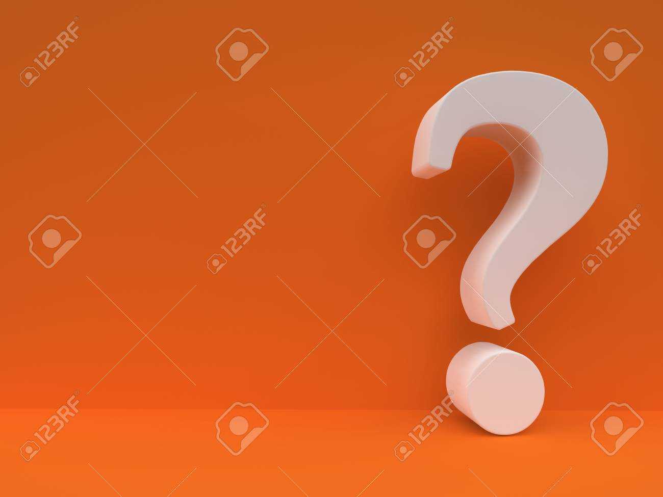 stock photo white question mark against orange wall questionnaire design template concept background 3d rendering