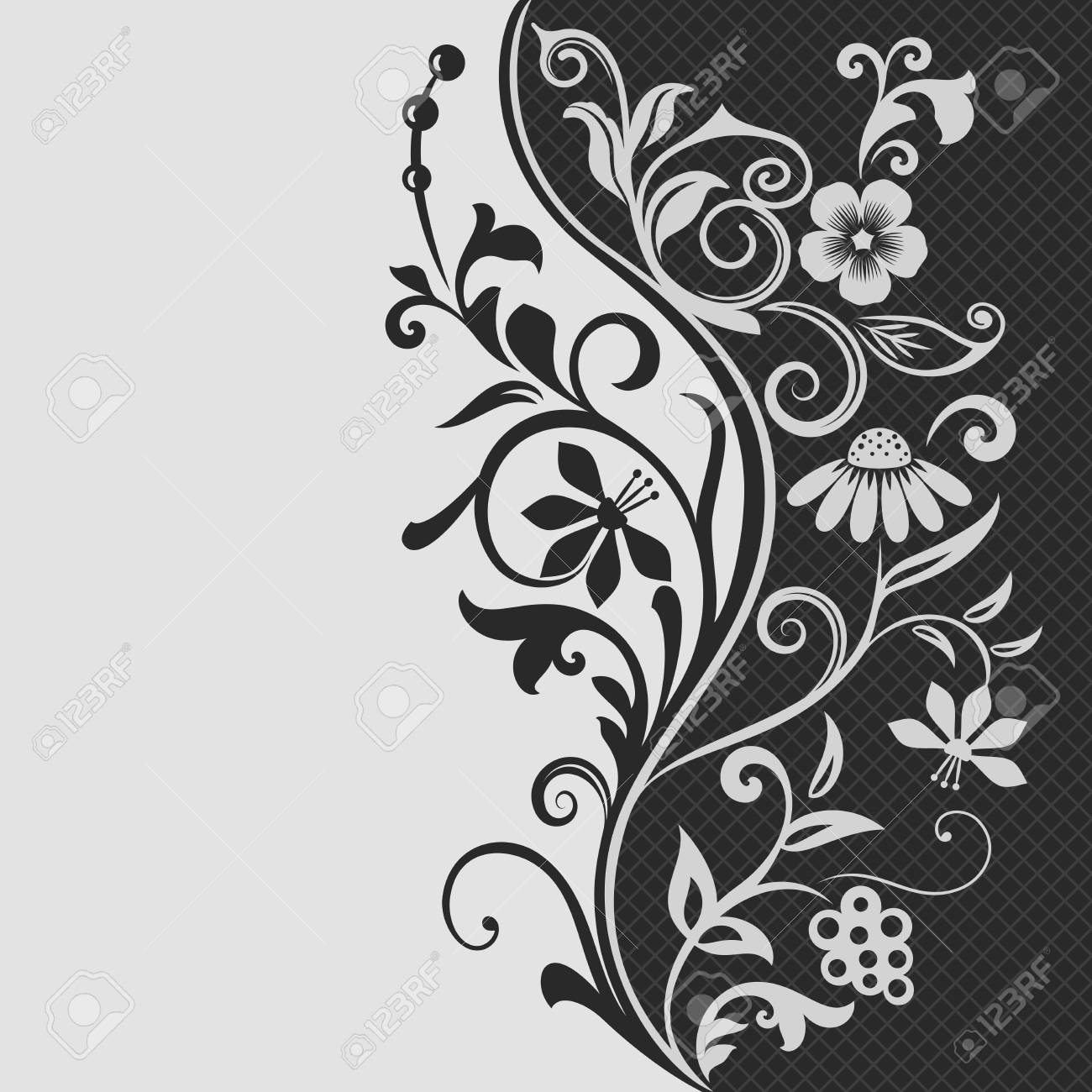 2f2ea6baab9 Black and white floral card vector template. Flourish design background.  Vector illustration. Stock