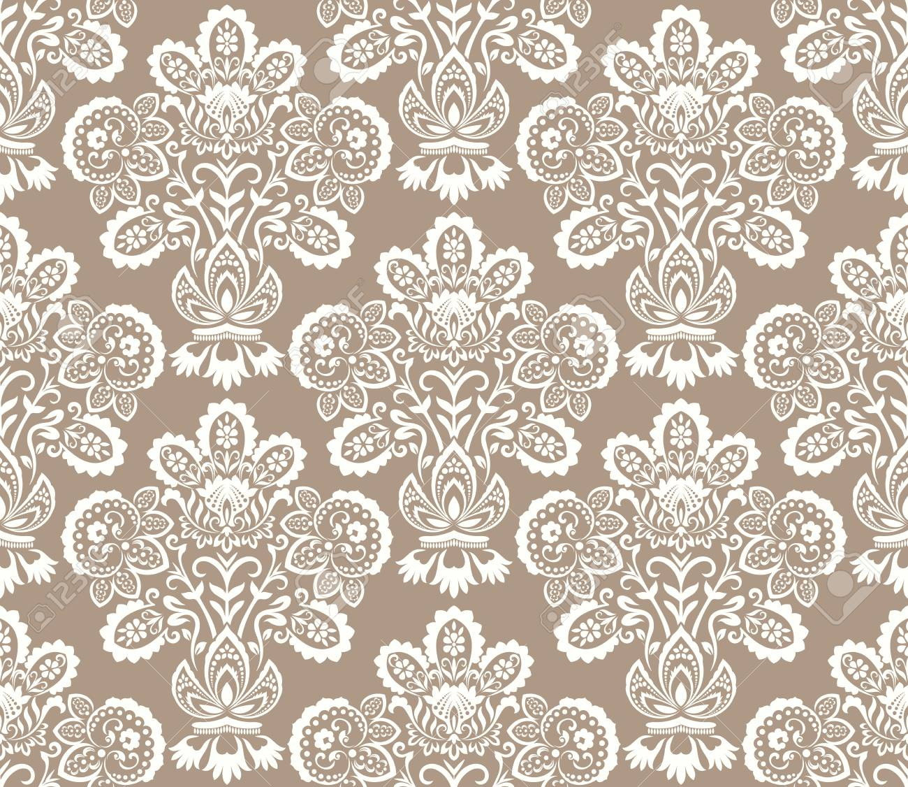 Seamless Beige And White Floral Wallpaper Vector Background