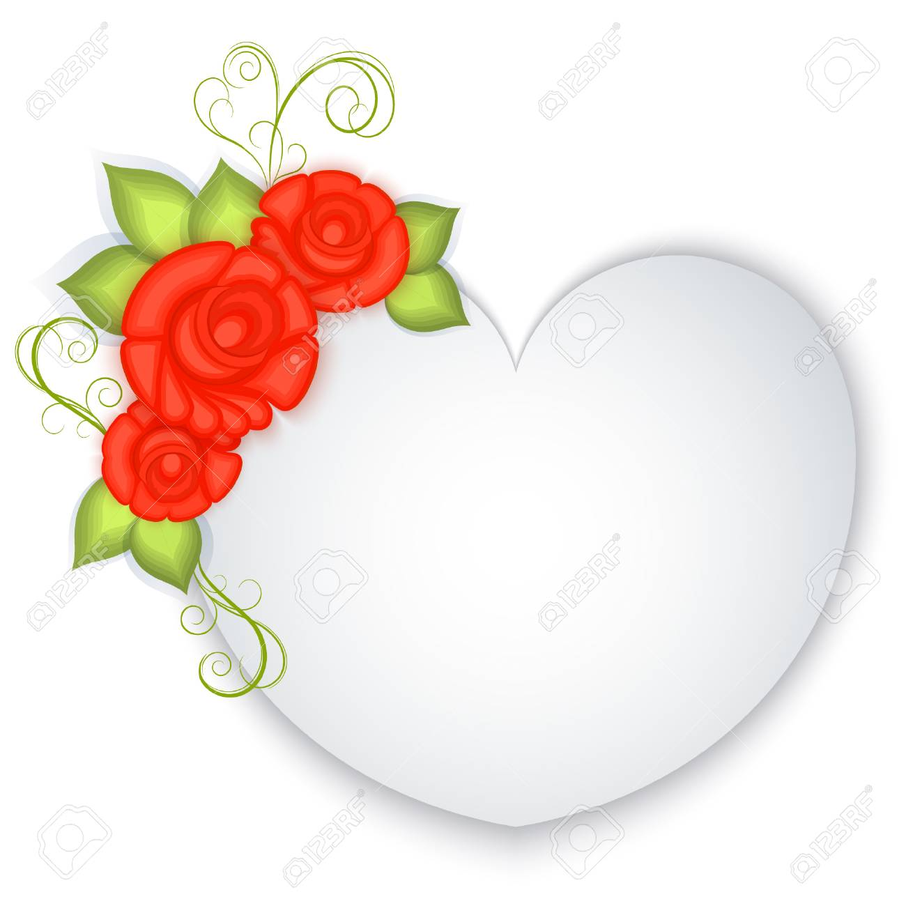 White Blank Paper Heart With Red Roses Decoration. Valentines ...