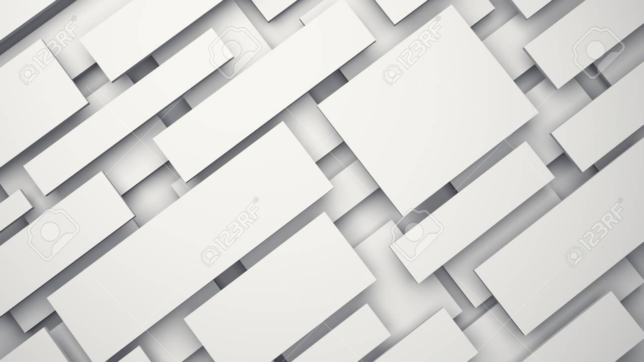 White floating 3D panels with shadow background  3D rendering