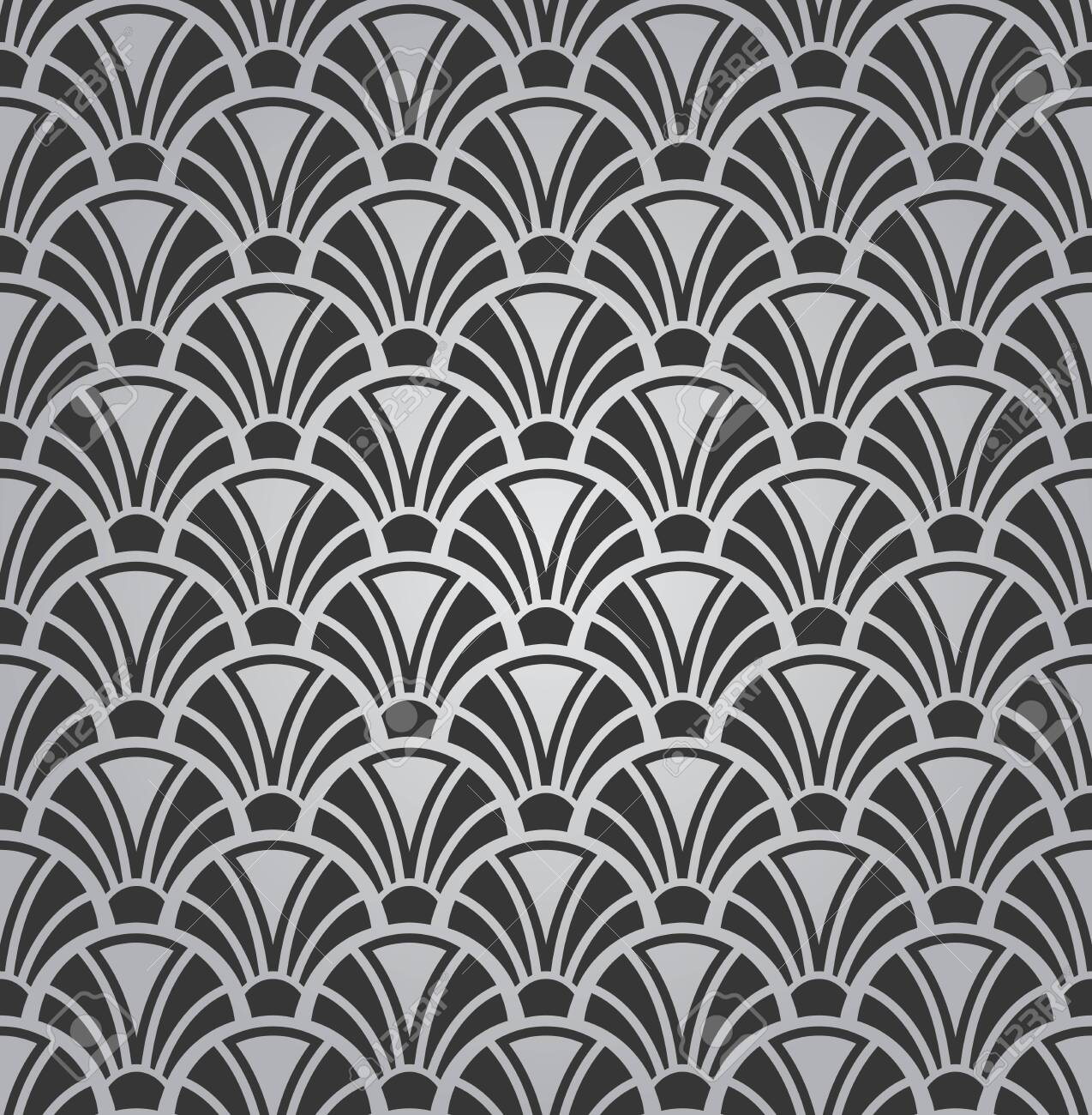 Black And White Simple Arc Shapes Pattern Modern Wallpaper Design