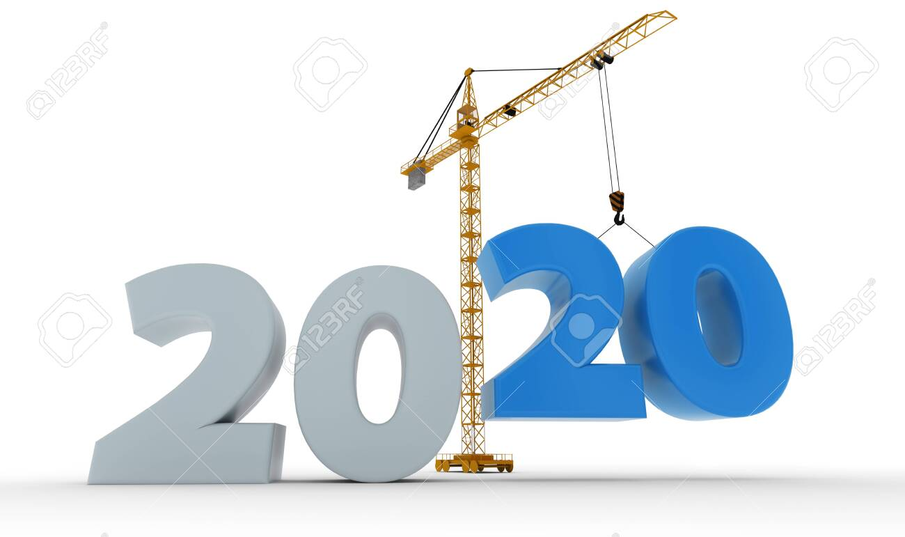 New 2020 year construction background with tower crane setting down blue twenty figure. 3D rendering. 2020 year calendar design. - 122782396