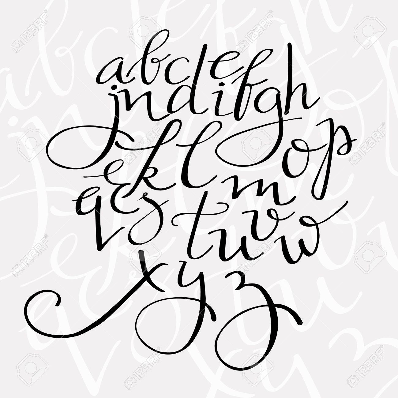 flourish script alphabet, elegant swirl font for menu or wedding invitation titles - 45072075