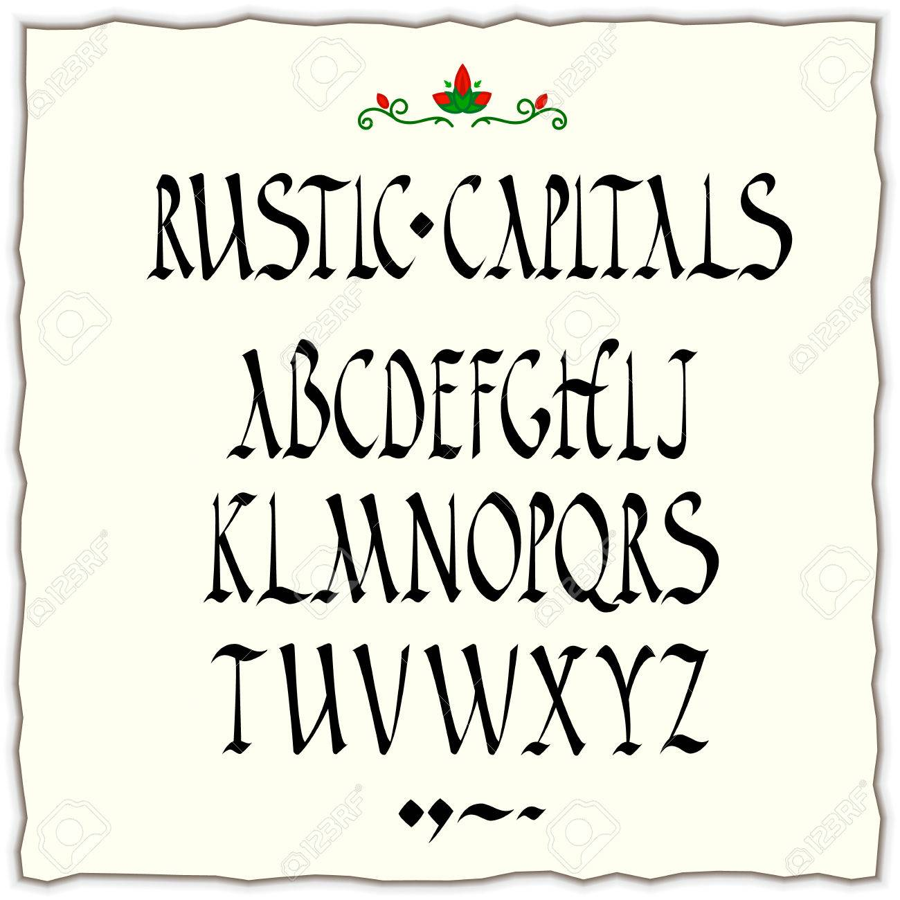 Rustic Capitals Alphabet Square Cut Nib Black Ink Calligraphy Stock Vector