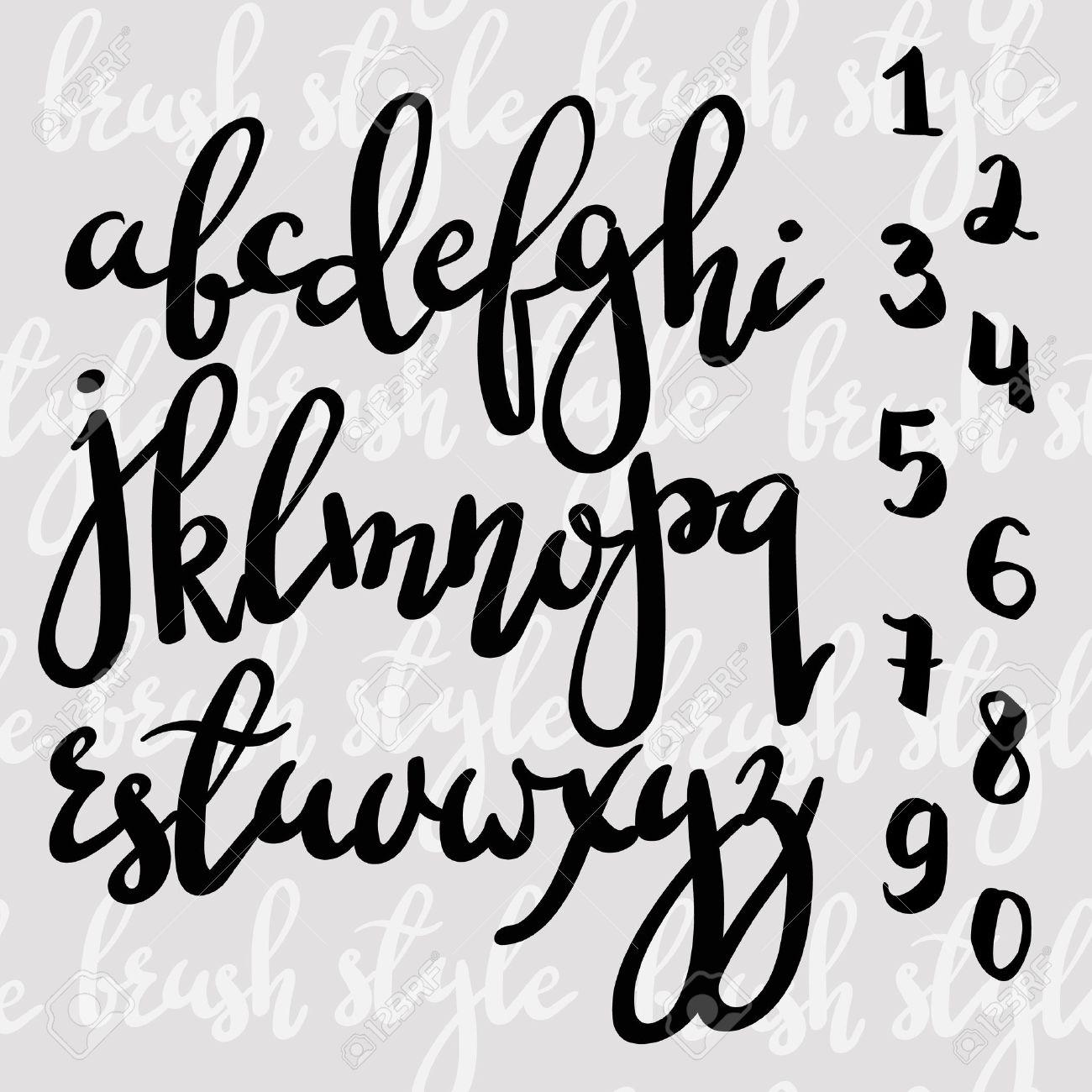 handwritten brush pen modern calligraphy font stock vector 46642068