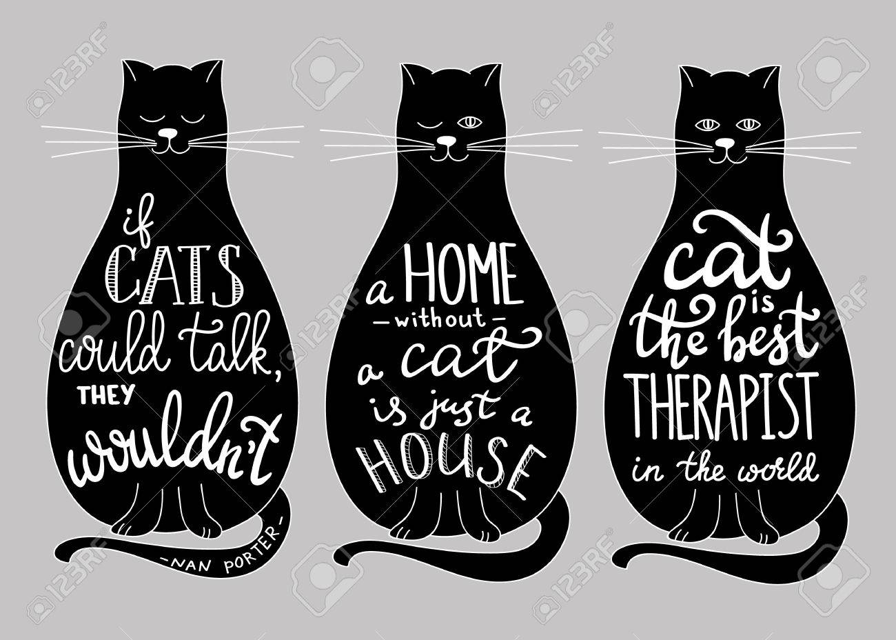 Cat Stock Quote Cat Quotes Calligraphy Lettering Set On Blask Cats Silhouette