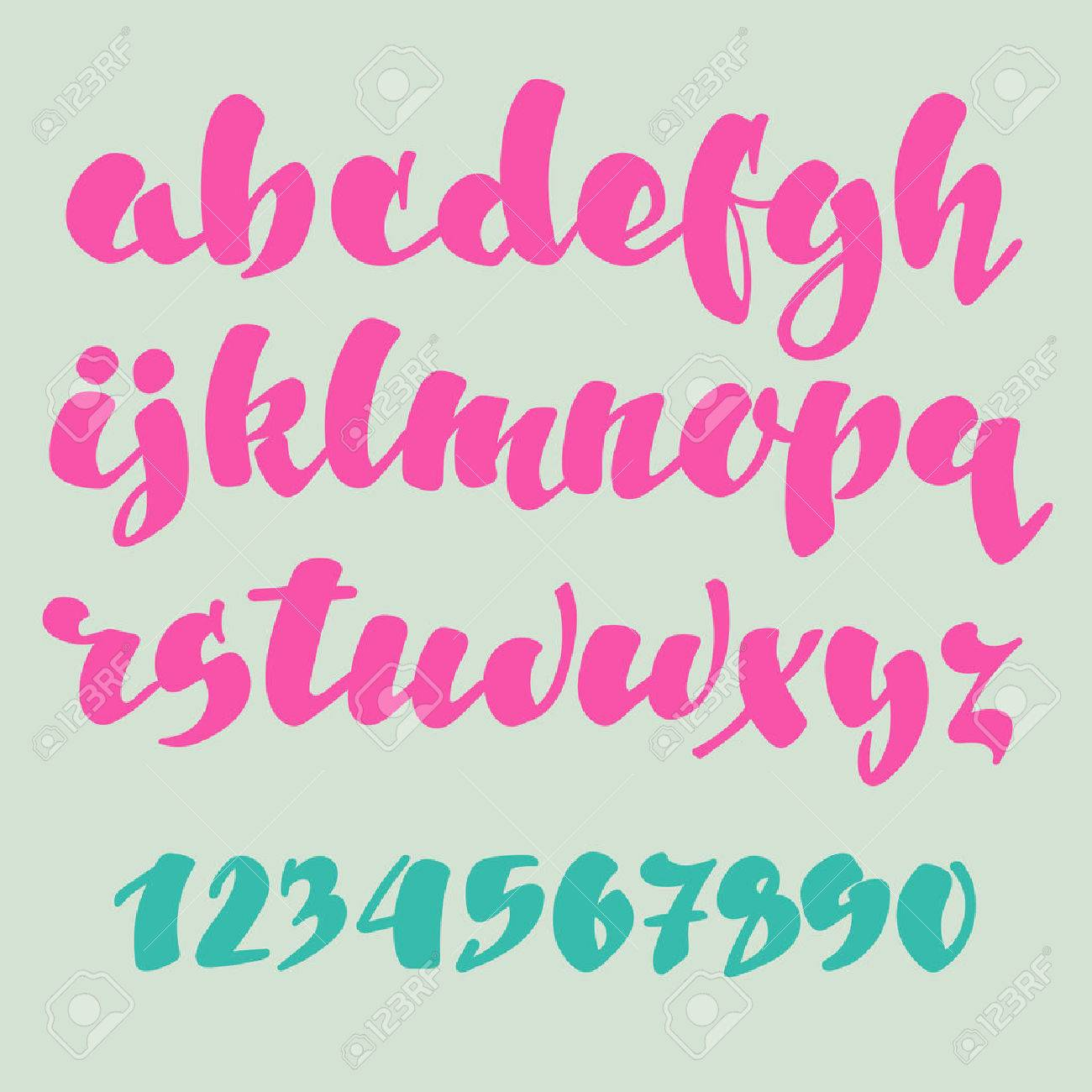 Brush pen style alphabet calligraphy low case letters and figures - 46642088