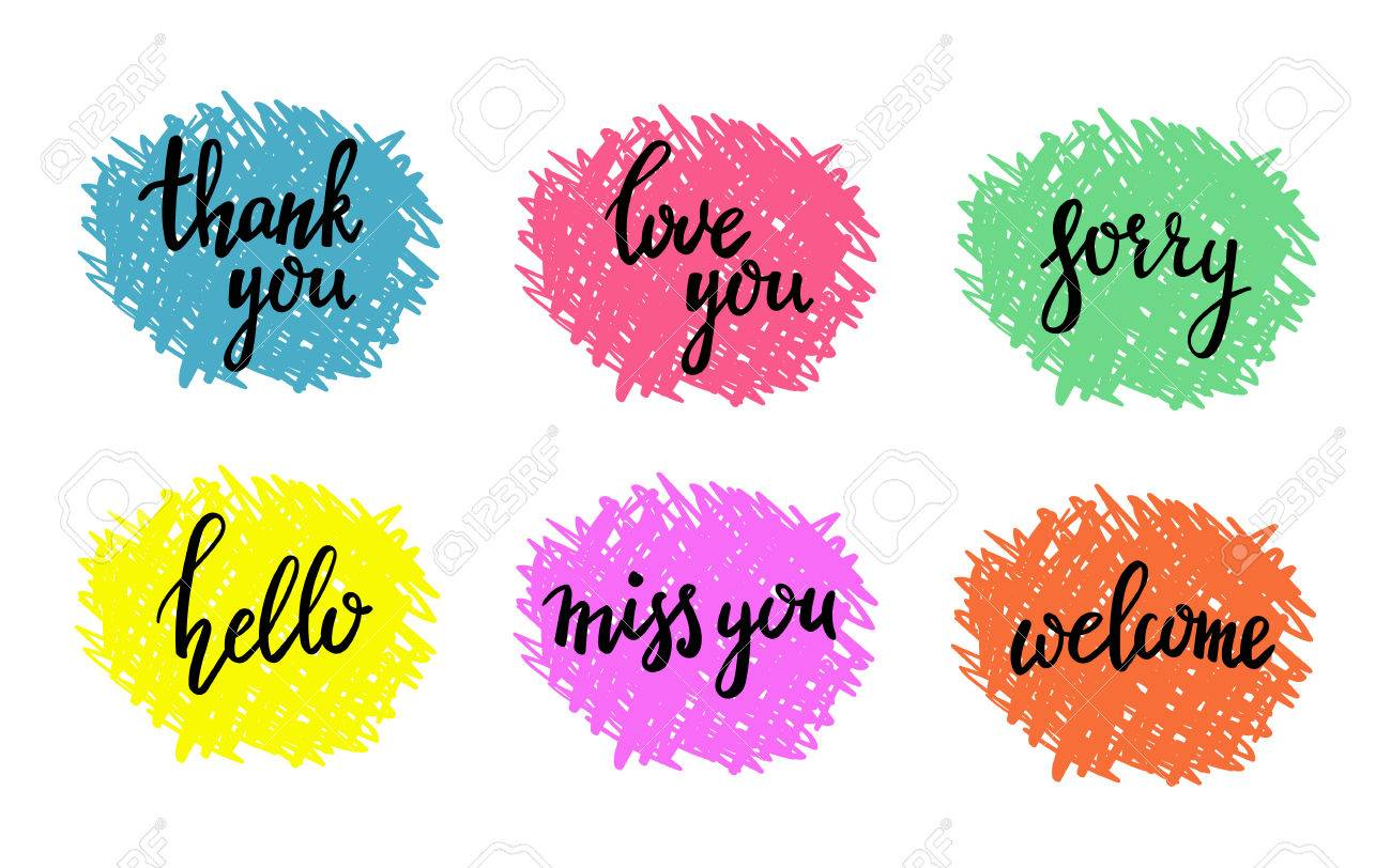 Hand written calligraphy style short messages set - 46642950