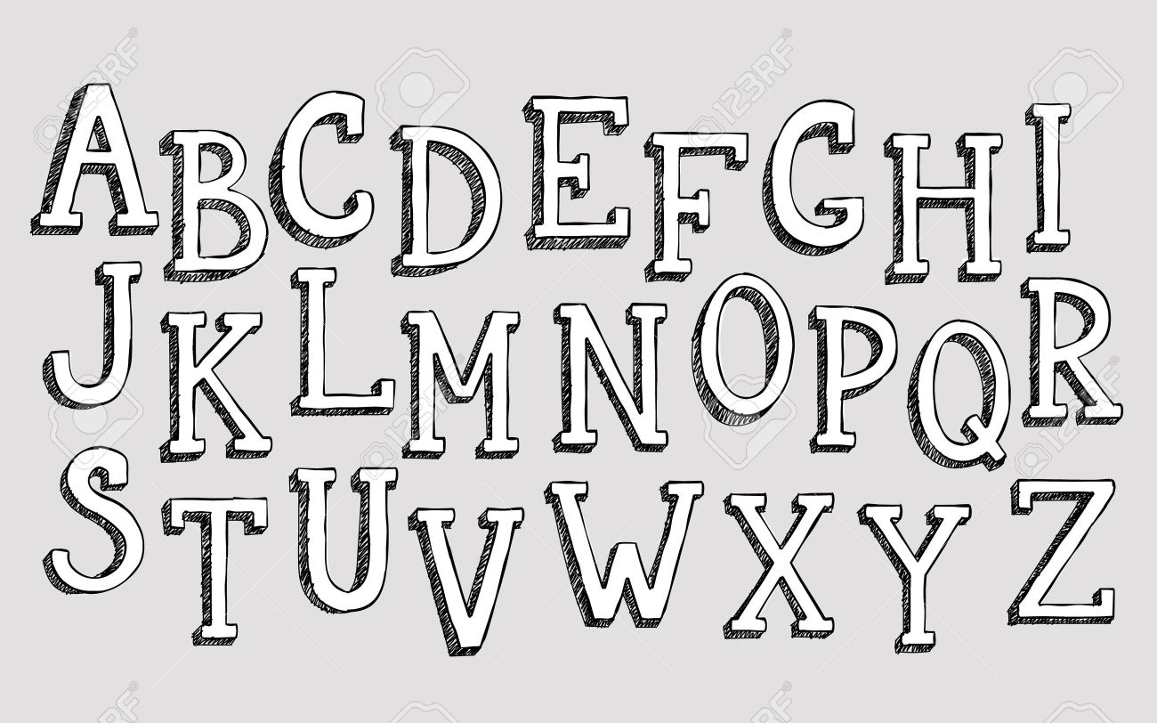 Doodle 3d Alphabet Vector Simple Hand Drawn Letters Textured With Pencil Doodles Decorative Font