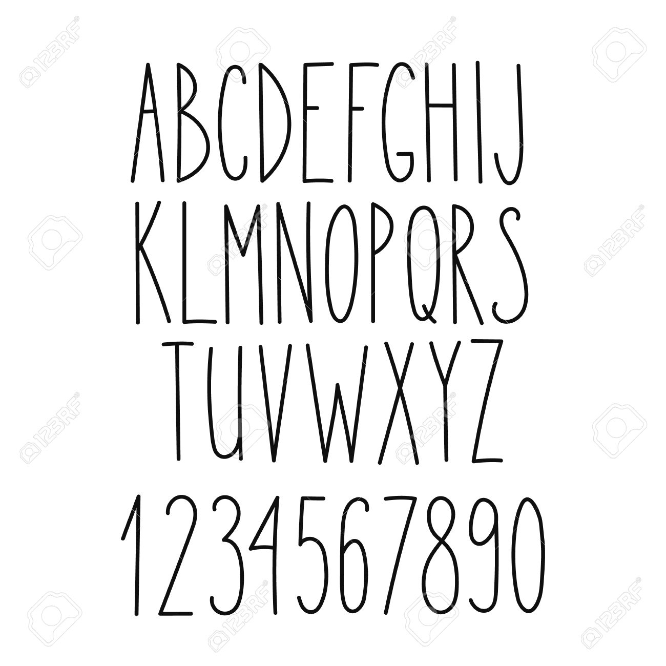 Doodle alphabet, vector simple hand drawn letters thin san serif marker font. Decorative font for books, posters, postcard, web hand drawn style typography. - 48126274
