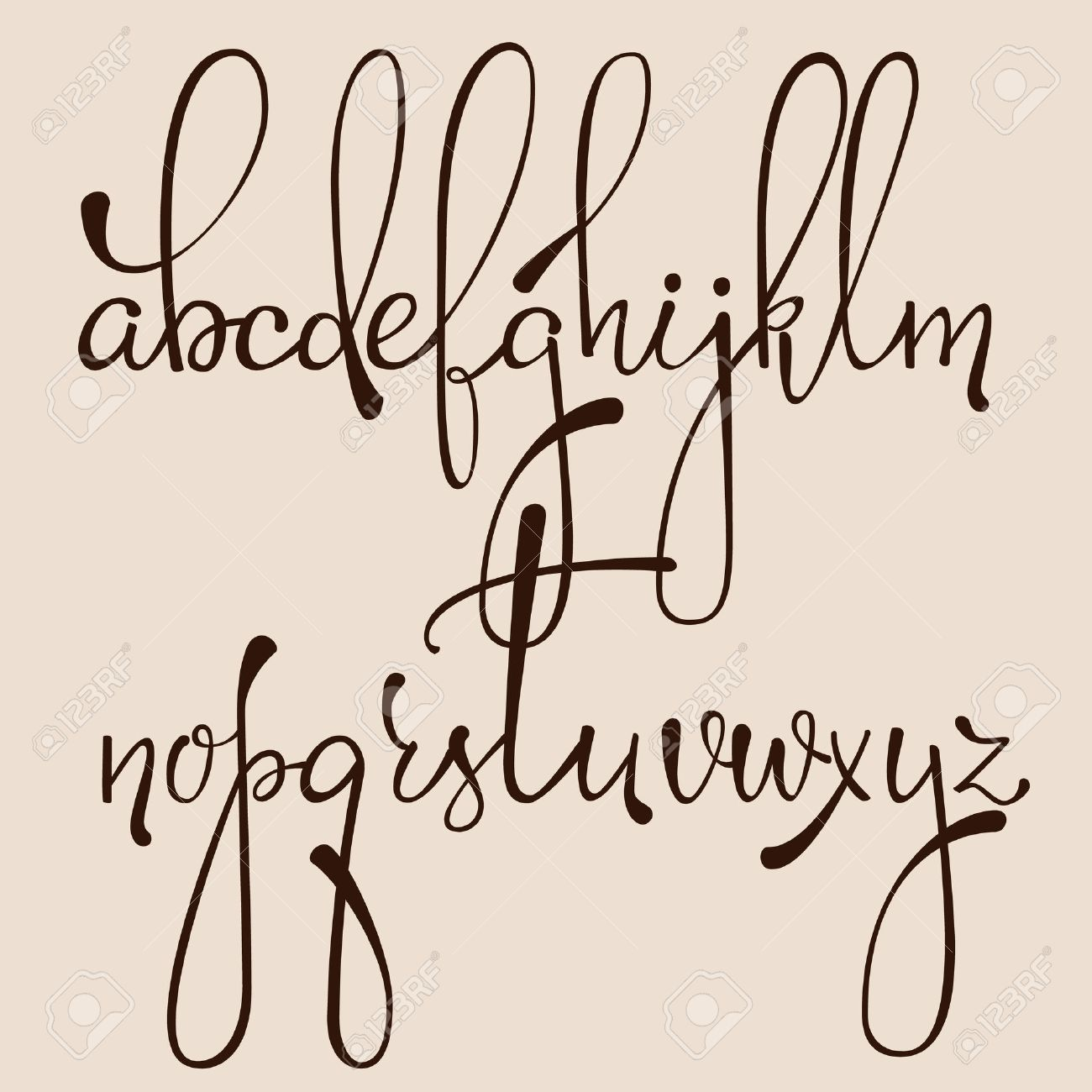 Handwritten Pointed Pen Ink Style Dacorative Calligraphy Cursive Font Alphabet Cute Letters