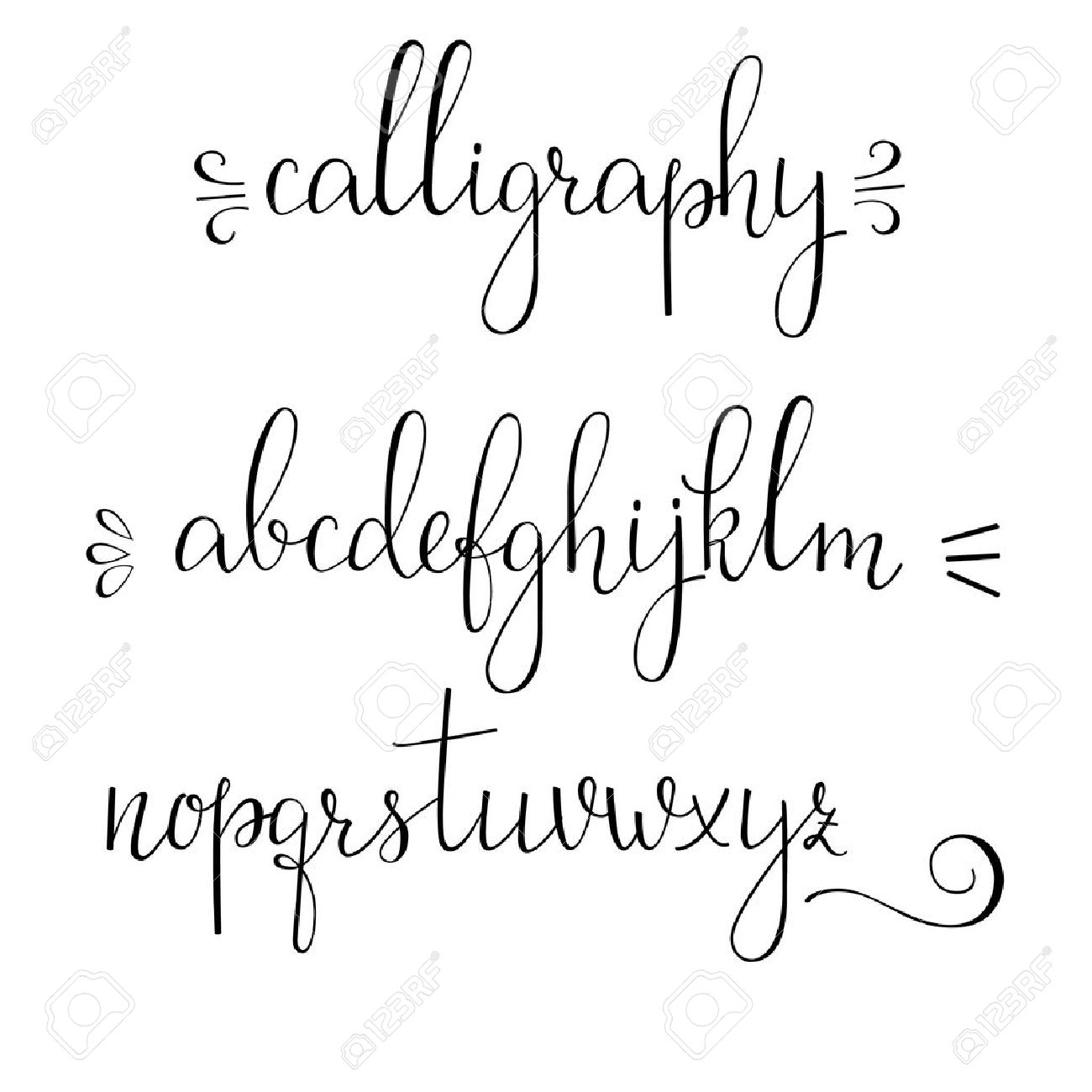 Handwritten Pointed Pen Ink Style Modern Calligraphy Cursive Font Stock Vector