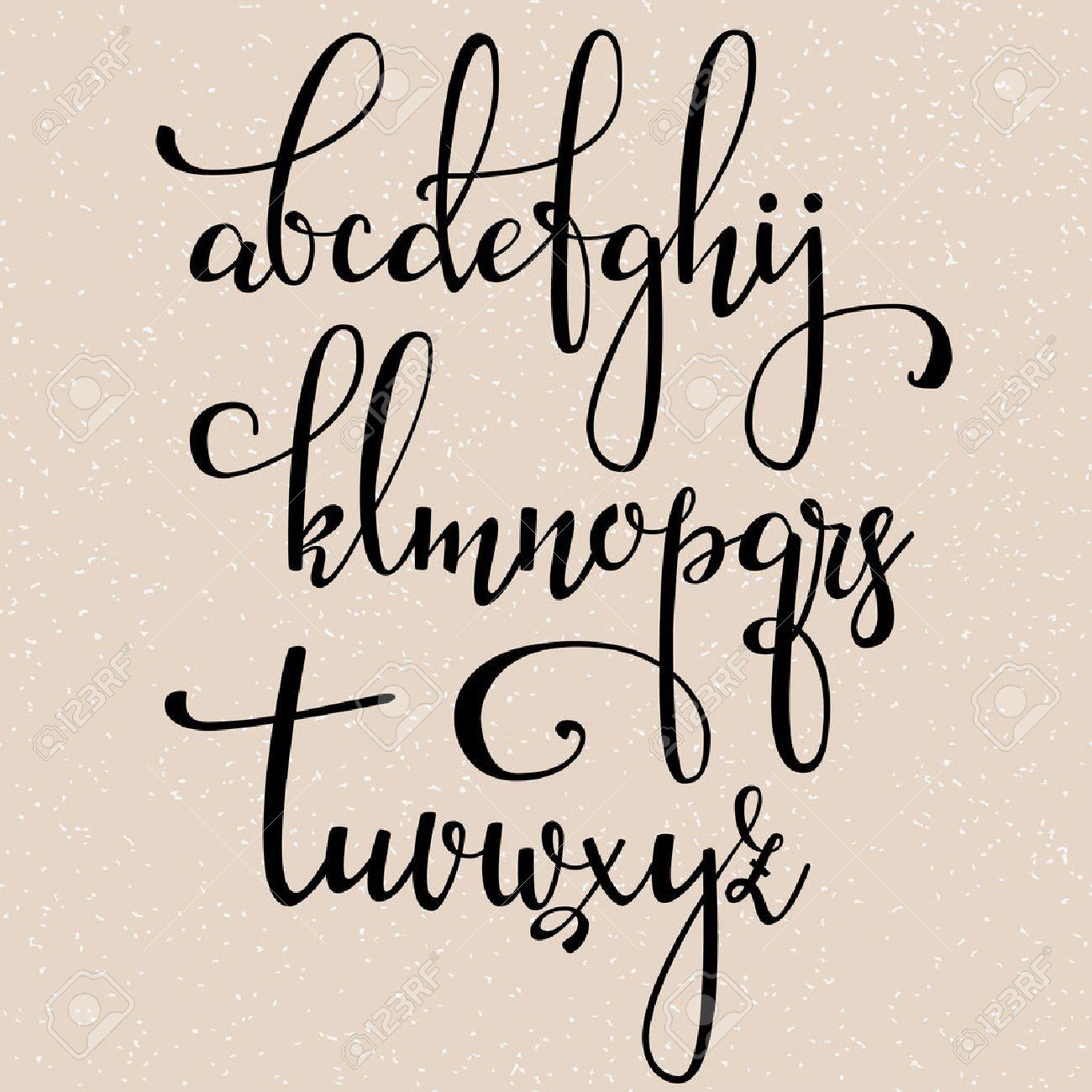 華麗さと手書きのブラシ スタイル現代書道草書フォント。書道の