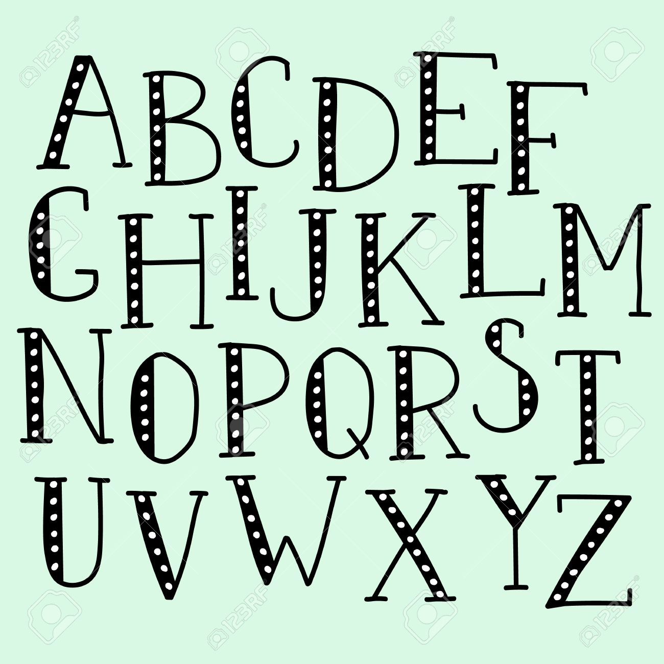 Vector Doodle Alphabet Simple Hand Drawn Letters Thin