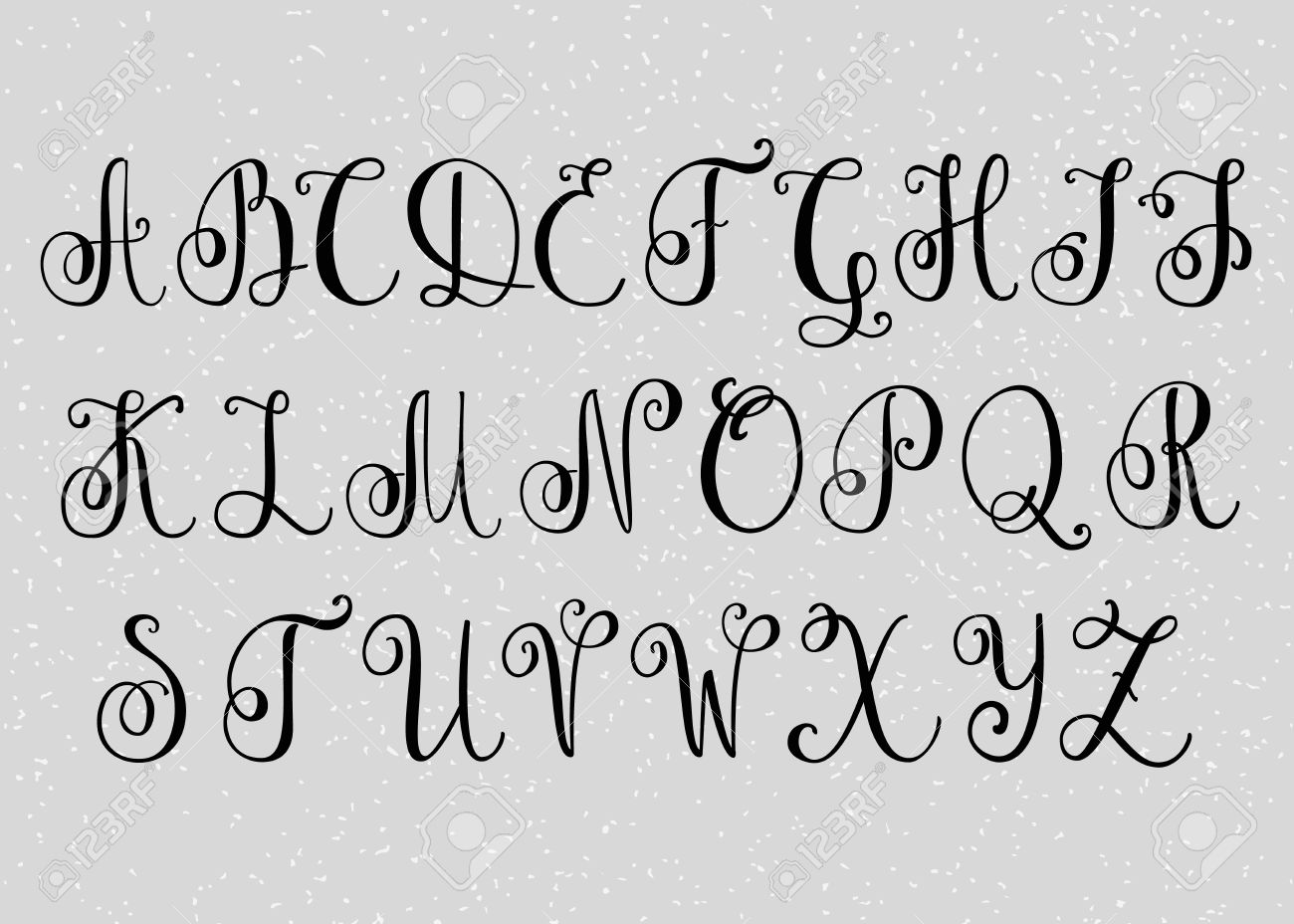Handwritten Brush Flourish Font. Capital Letters. Modern