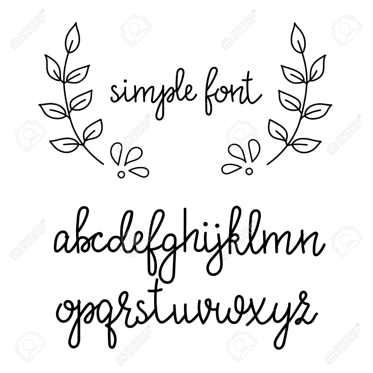 簡単な手書きの先の尖ったペン書道草書フォント。書道のアルファベット