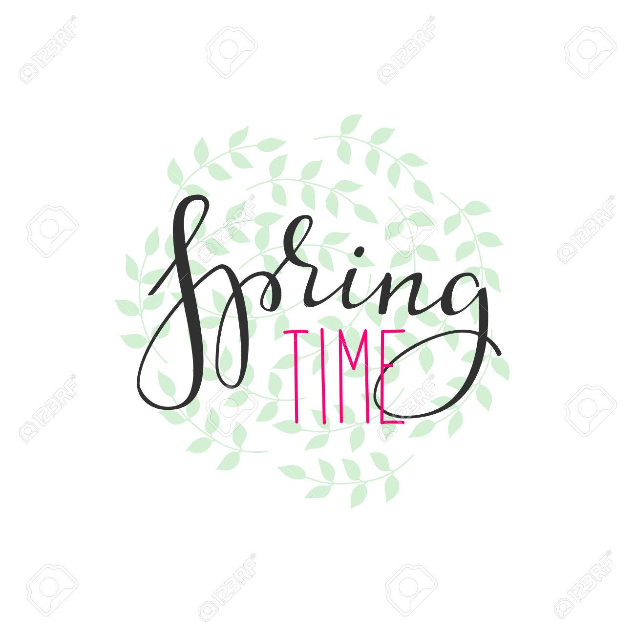 Spring time lettering. Calligraphy winter postcard or poster graphic design lettering element. Hand written calligraphy style spring postcard. Spring time. Cute simple vector brush calligraphy. - 50002674