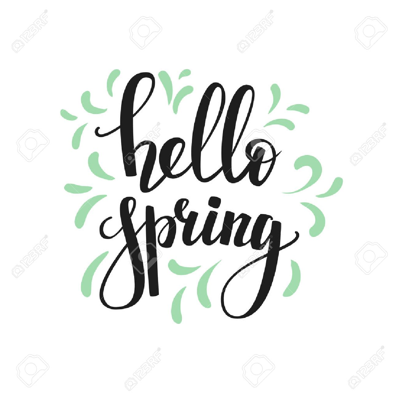 Hello spring lettering. Calligraphy winter postcard or poster graphic design lettering element. Hand written calligraphy style spring postcard. Hello spring. Simple vector brush calligraphy. - 50002691