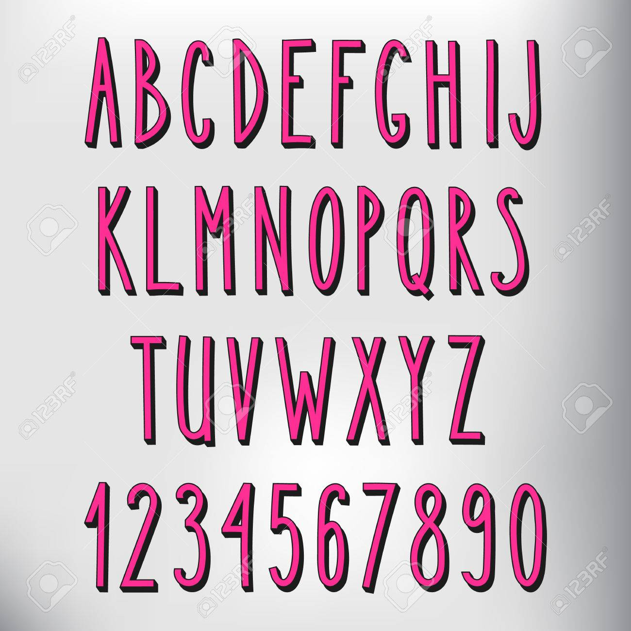 Hand Drawn Narrow Alphabet Vector Simple Hand Written Letters