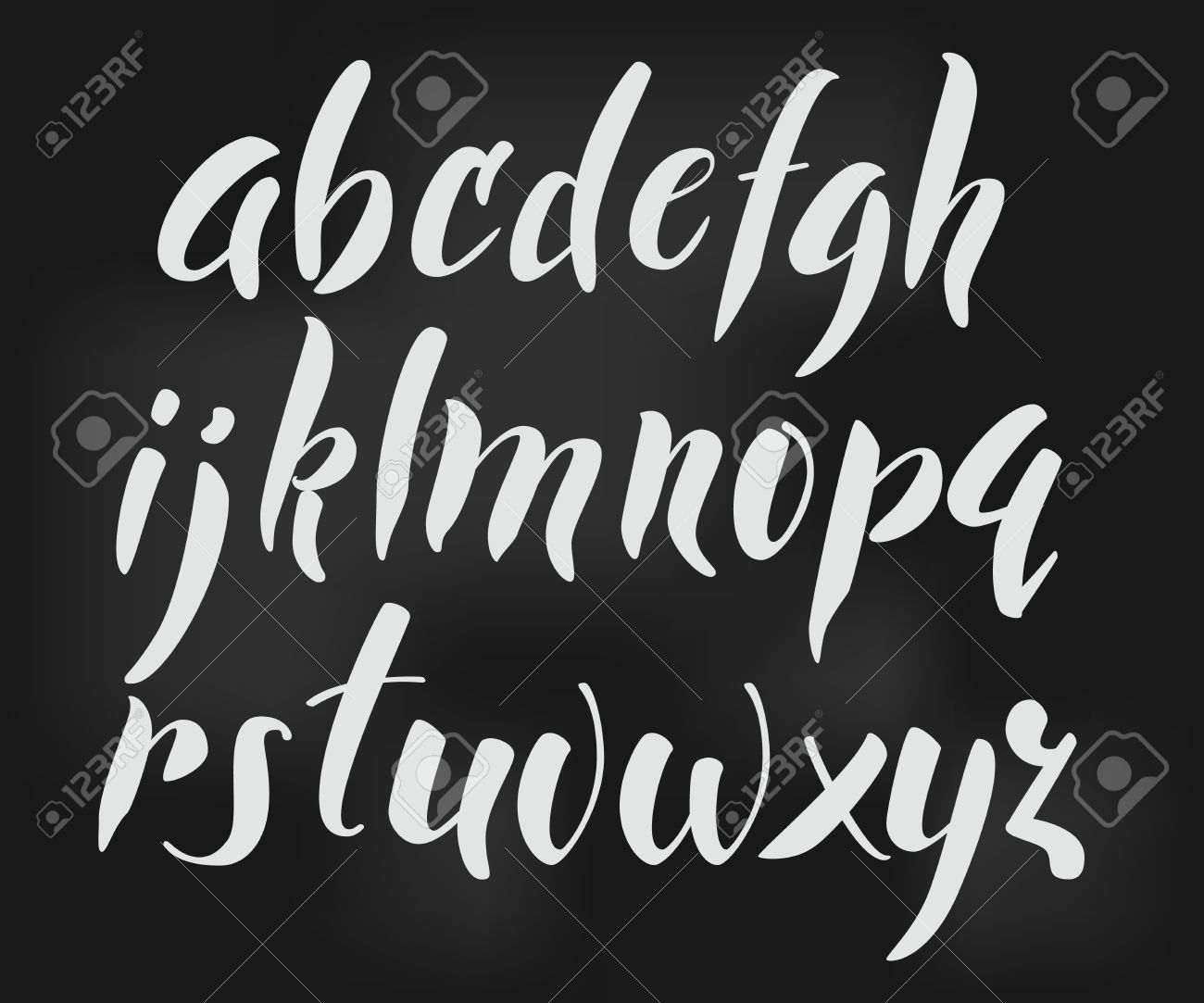 Brush style vector alphabet calligraphy low case letters cursive font. Calligraphy alphabet. Cute calligraphy letters. For expressive brush retro style lettering design. Isolated letter elements - 50002972