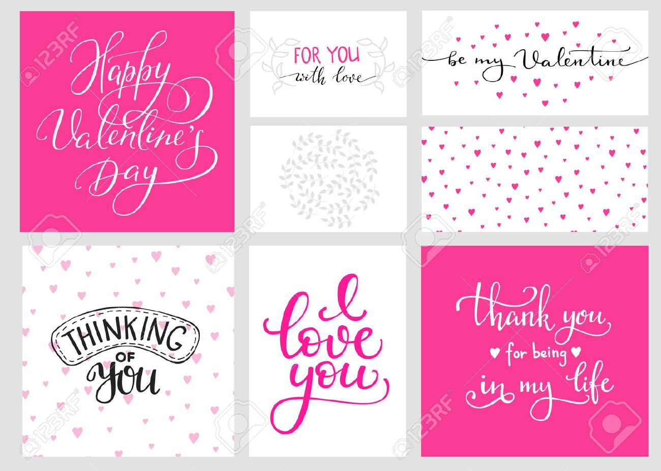 Romantic Valentines day lettering set and color backgrounds. Calligraphy postcard or poster graphic design lettering element. Hand written calligraphy style valentines day romantic postcard. Love you. - 50002977