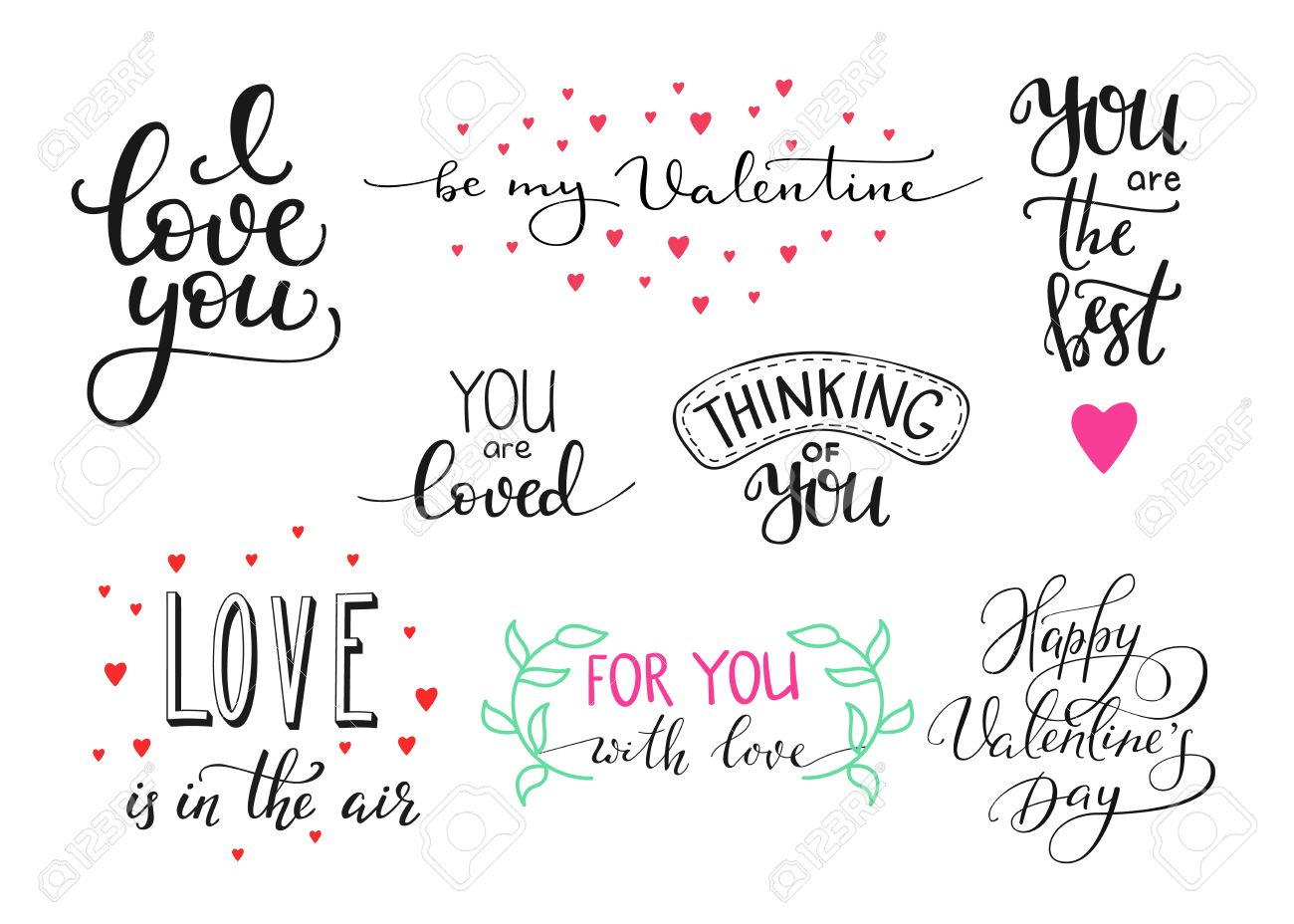 Romantic Valentines Day Lettering Set Calligraphy Postcard Or