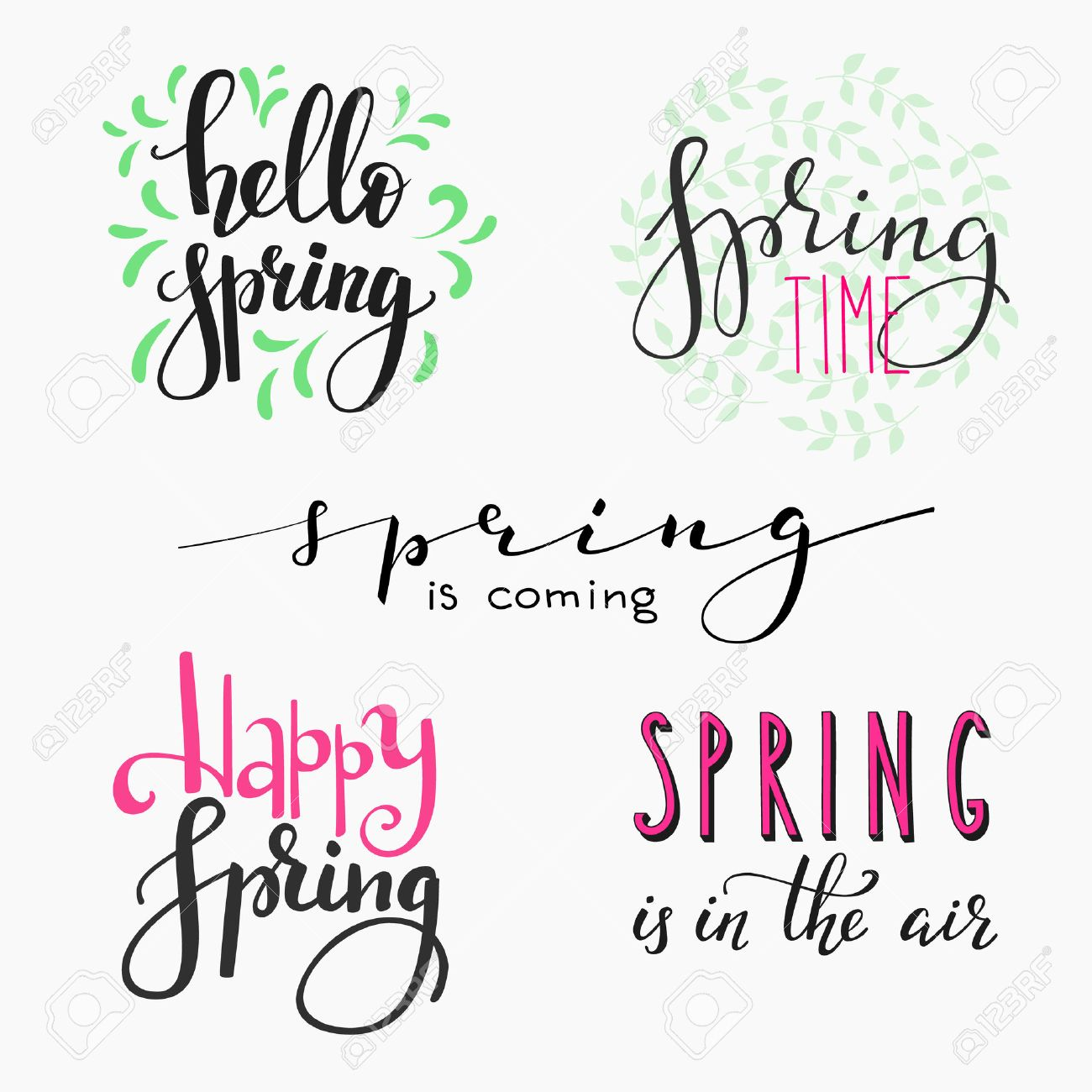Hello Spring Lettering Typography Set Calligraphy Postcard Or Poster Graphic Design Element